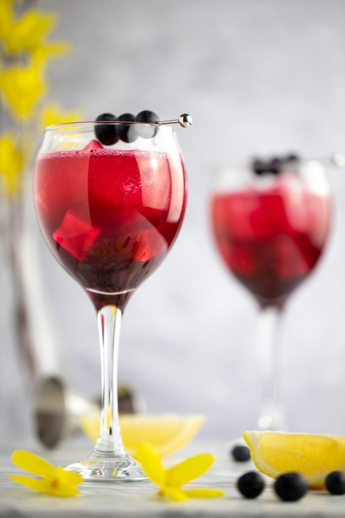 A glass of blueberry gin cocktail, next to lemon slices, blueberries and yellow flowers.