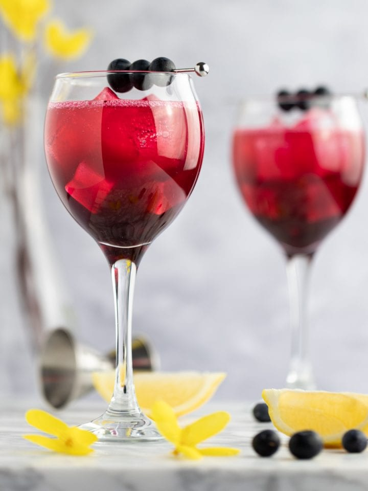 A couple glasses of blueberry gin cocktails, next to lemon slices and blueberries.