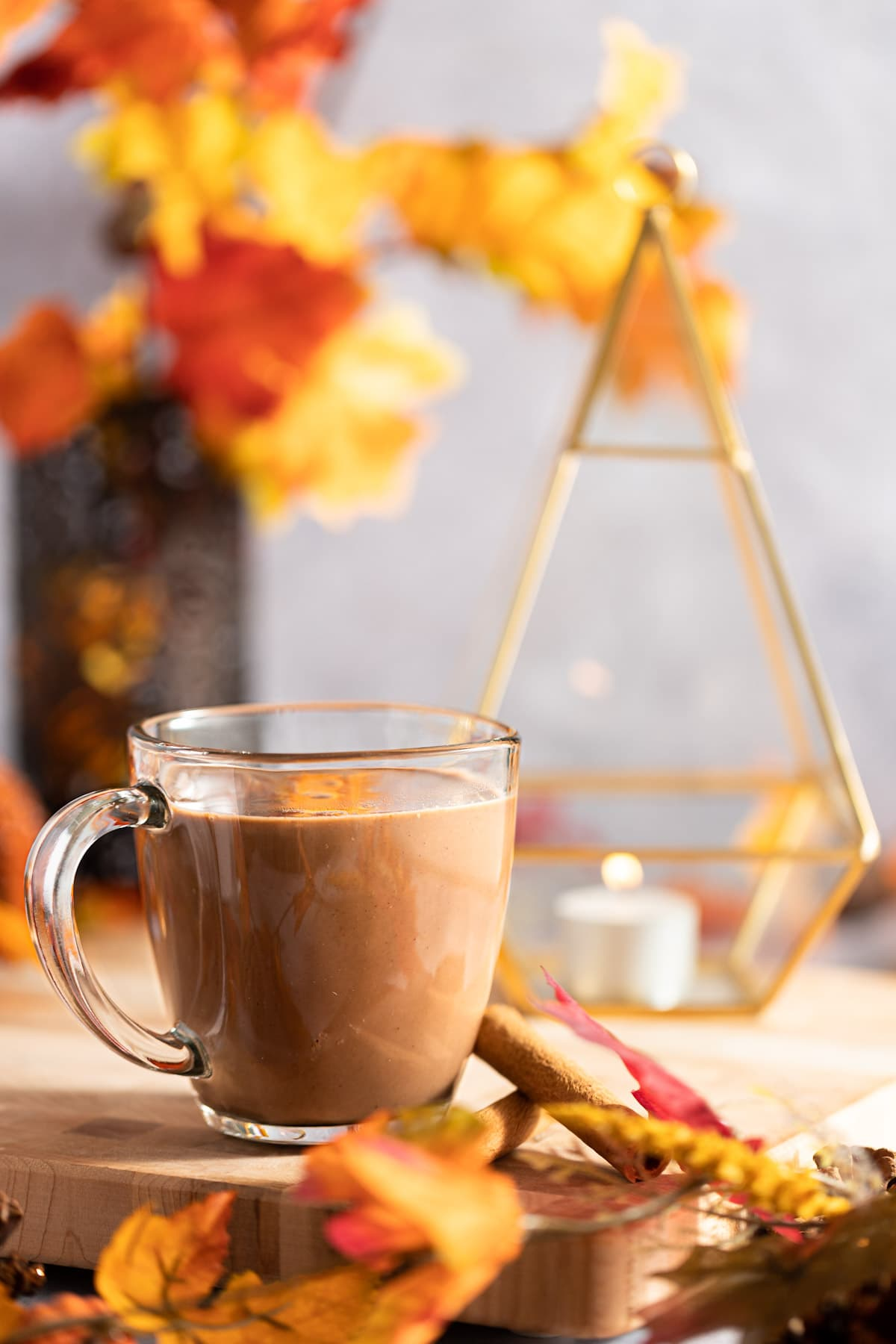 A cup of oat milk hot cocoa on a brown serving board, surrounded by orange leaves.