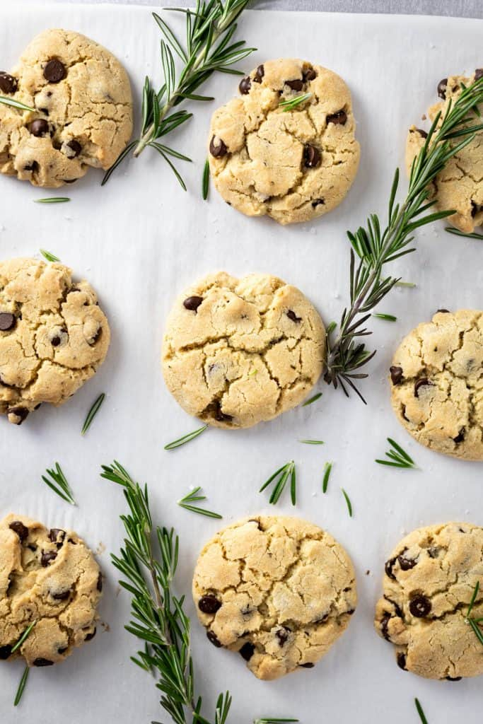 Overhead shot of a tray of rosemary chocolate cookies with fresh rosemary scattered on top