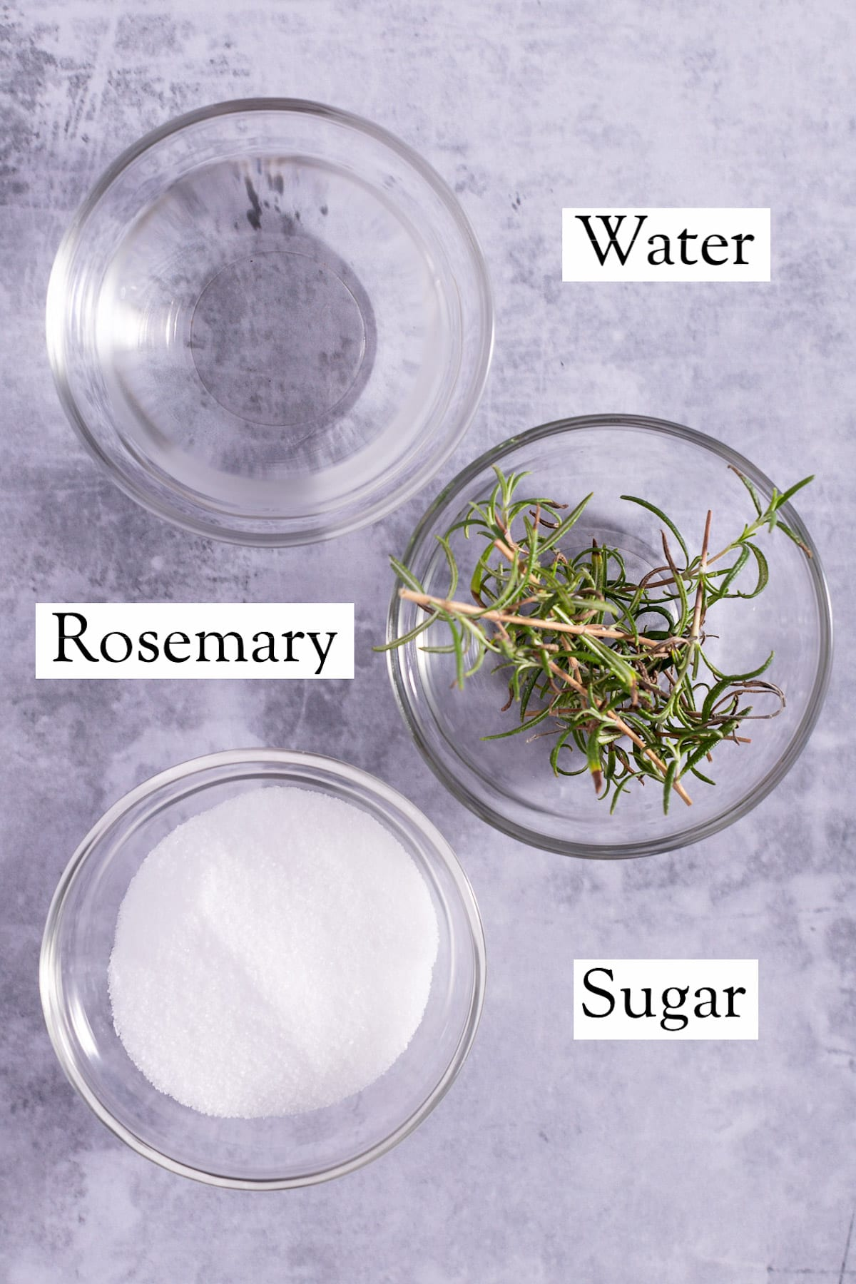 Overhead view of the ingredients needed to make the syrup.